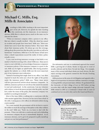 Michael Mills of Mills & Associates profiled in Attorney at Law Magazine